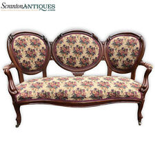 Antique Victorian Triple Back Carved Walnut Settee  Floral Loveseat Couch