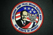 "PRESIDENT GERALD FORD TRAIL COUNCIL BSA BOY SCOUT 3.5"" PATCH BADGE MICHIGAN USA"