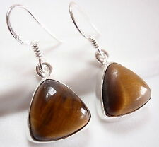 Tiger Eye Triangle Earrings 925 Sterling Silver Dangle Drop Pyramid New