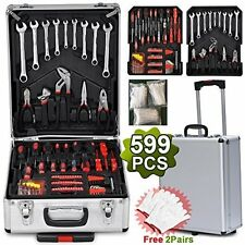Tool Kit 599 Piece DIY Home Household Mechanics Box case Trolley casters locks