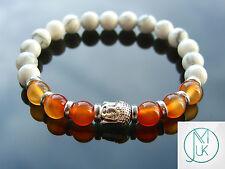 Buddha Howlite/Carnelian Natural Gemstone Bracelet 7-8'' Elasticated Healing