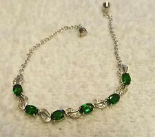 RUSSIAN CHROME DIOPSIDE/DIAMOND BRACELET PLATINUM OVER STERLING 7 3/4 IN