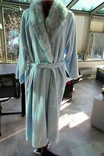 Kay Anna Pale Blue Belted Dressing Gown -  Women's Robe w Fake fur collar  Lg