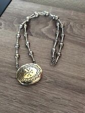 Vintage 1973 ESTEE LAUDER MOONSILVER Solid Perfume Chunky Silver Necklace/Locket