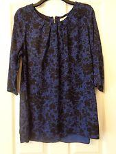 Damas Azul/Negro Floral Túnica larga superior talla 18