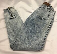 "'80s Vintage Jordache Acid Wash Jeans High Waist Back Zippers & Bows 26"" Waist"