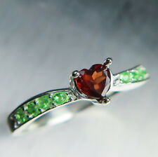 Natural Garnet Spessartines Dark Red heart & tsavorites Sterling 925 silver ring