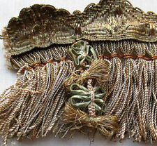 Rare Find Antique French Fringe  Gold & Silver Metallic Ribbon Work  French