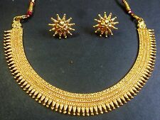 Indian Wedding South Indian Surya Haar Gold Plated Necklace Earrings Jewelry Set