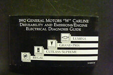 "1992 GENERAL MOTORS ""W"" DRIVEABILITY AND EMISSIONS/ENGINE ELECTRICAL DIAGNOSIS"