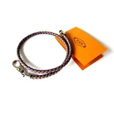 J-1384120 New Tod's Brown Braid Leather Silver Clasp Wrap Bracelet Jewelry
