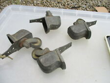 Large Antique Brass Furniture Castors Trolley Wheels Architectural Vintage Old 4