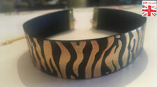 BLACK METALLIC GOLD ZEBRA CHOKER necklace animal print bling festival fashion