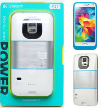 Logitech Protective Case + 80% Battery Pack Case 2300mAh Power for Galaxy S5 WHT