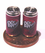 1:12 Scale 2 Empty Dr Pepper Drink Tin Dolls House Miniature Bar Drink Accessory
