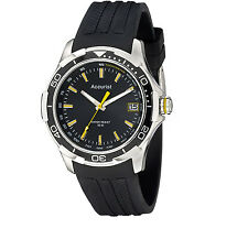 Accurist Mens Black Silicone Strap Date Watch MS860BB