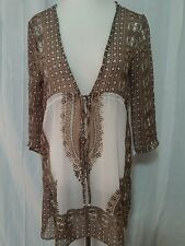 PARADISE One sz  Womens Brown Paisley SEE THROUGH Blouse Tunic Cover Up Viscose