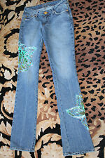 GUESS MARCIANO JEANS WITH BUTTERFLYS MEDIUM WASH BOOT CUT WAIST 25 INSEAM 34