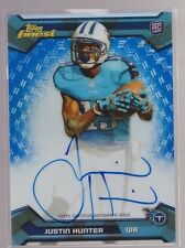 2013 Topps Finest Blue Refractor Justin Hunter On Card Auto Rc Serial # to 25