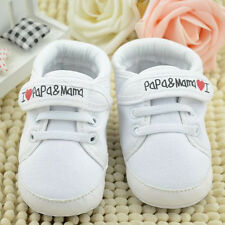 White Infant Toddler Baby Boys Girl's Kids Soft Sole Shoes Sneaker Newborn 6-12M