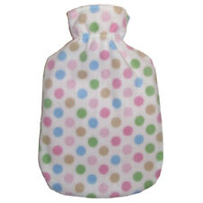 Fashy Hot Water Bottle with Little Dots Fleece Plushie Cover 2L Water Bottle