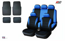 BLUE CAR SEAT COVERS & RUBBER CAR MATS SET FOR VW TIGUAN CADDY PASSAT BORA POLO
