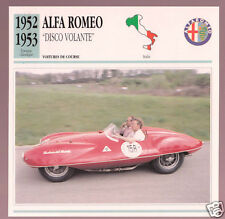 1952-1953 Alfa Romeo Disco Volante Race Car Photo Spec Sheet Info French Card