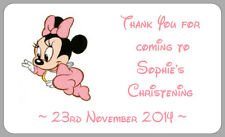 MINNIE MOUSE BABY CHRISTENING LABELS THANK YOU STICKERS GIRLS PERSONALISED PARTY