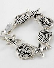 PERIWINKLE by BARLOW Silver Scallop Seashell Starfish Charm Link Bracelet NWT