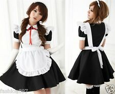 Lovely Costume Black White French Maid Fancy dress outfit +headband  fit size