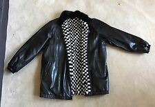 Reversible Ladies Black White Checkered Mink Fur&Leather Bomber Jacket Vintage