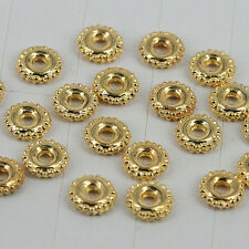 100pcs gold tone round crafted spacer beads 6mm wide H0144