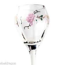 4 WINE GOBLETS GLASSES Lead Free OPTIC Crystal Hand Blown & Painted Crafted VINE