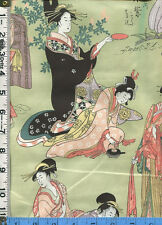 Fabric Henry STROLL BY THE EDOGAWA geishas Japanese OOP sage green BTY