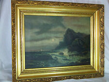 Seascape*Hudson River School* Antique Original Oil On Canvas Painting