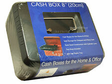 8 inch Cash Money Box With 2 Keys Petty Safe Tin Cathedral Black