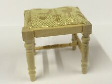 Bare Wood Dressing Table Stool, Dolls House Miniature Furniture, 1.12 Scale