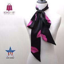 3 IN 1 Women's Scarves Skinny Scarf SilkBlend Tie Scarf Wrap Black Scarf S1070-K