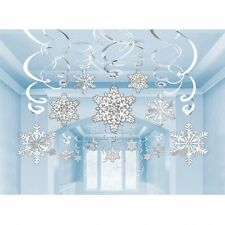 30 x SNOWFLAKE SWIRLS CHRISTMAS PARTY CEILING HANGING VALUE PACK DECORATION