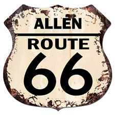 BPHR0032 ALLEN ROUTE 66 Shield Rustic Chic Sign  MAN CAVE Funny Decor Gift