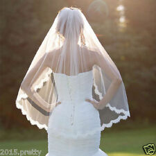 White Ivory Lace Wedding Bridal Veils Cheap One Layer Bridal Accessories