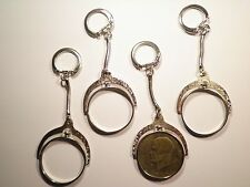 1 Silver Plated Eisenhower Dollar Spinning Coin Holder Coin Bezel Key Chain