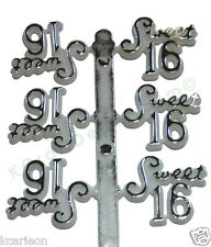48 Pcs Plastic Cake Topper Sweet 16 Sign White w/Silver Party Favor Decorations