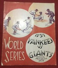 1937 World Series baseball program Giants New York Yankees G 1 Gomez W Hubbell L