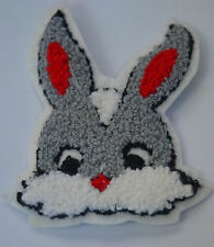 BUNNY RABBIT HEAD PLUSH FLUFFY WOOLY FURRY Sew On Cloth Patch Badge APPLIQUE