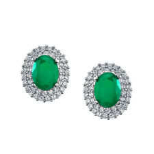 925 Sterling Silver Formal Stud Emerald CZ Earrings Cubic Zirconia Pushbacks