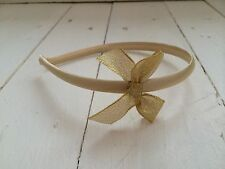 Gold Satin Girls Hairband Headband Alice Band Glitter Sparkle Gold Bow