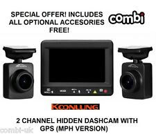 KOONLUNG K1S 2CH Channel DUAL CAM. UK MPH With GPS Full HD Car Camera Dash-Cam