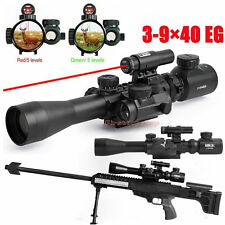 illuminated 3-9X40 EG Tactical Rifle Scope w/ Red Laser & Holographic Dot Sight