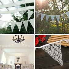 2.5m Vintage White Lace Bunting Banner Flag Wedding Party Hanging Decoration